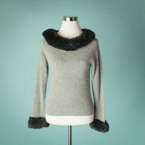Garnet Hill XS Gray Faux Fur Wool Sweater